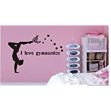 Large--Easy instant decoration wall sticker wall mural Gym-I love Gymnastics