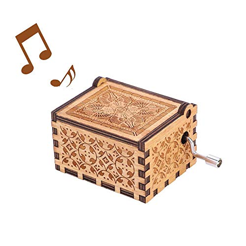 Kafete Vintage Hand Crank Music Box Unique Engraved Wooden Music Box for Kids Friends Children Gifts(for HP)