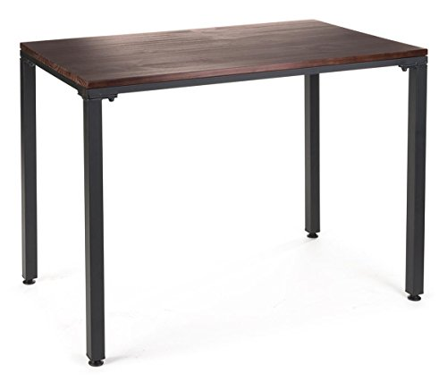 Displays2go, Industrial Pipe Display Table with Vintage Styling, Wood, Metal Construction – Mahogany Finish, Black Legs (WHLNSTBK35) by Displays2go