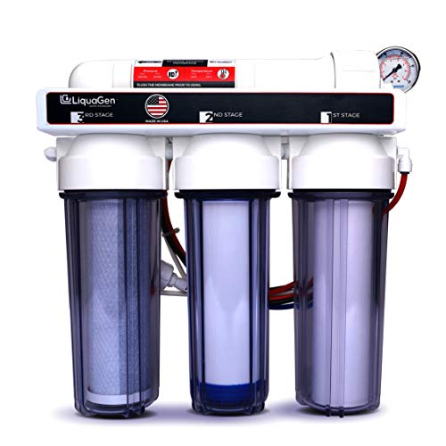4 Stage - Hydroponics (Plant Growth) Reverse Osmosis Water Filtration System | Manual Flush Kit | 75 GPD Membrane