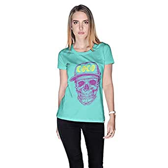 Creo Violet Yellow Coco Skull T-Shirt For Women - M, Green