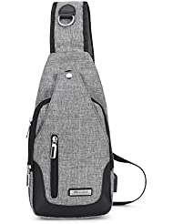 Vbiger Canvas Sling Bags Crossbody Casual Rucksack with USB Charging Port for Men Women Boys