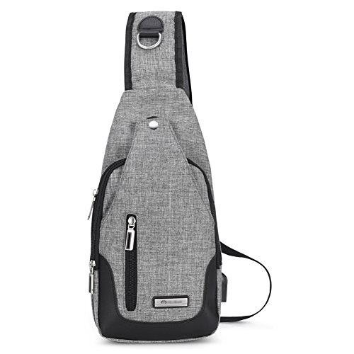 Vbiger Canvas Sling Bags Travel Backpack Crossbody Casual Rucksack for Cycling Walking Hiking with USB Charging Port for Men Women Boys Girls