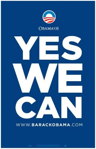 Amazon Com Pop Culture Graphics Barack Obama Yes We Can Blue Campaign Poster 24 X 36 Prints Clothing