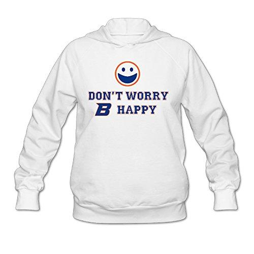 CYANY Boise State University BSU Broncos Mascot Buster Women's Trendy Hoodies Sweatshirt MWhite