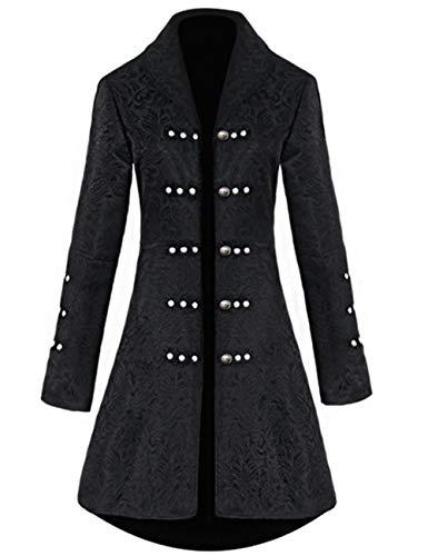 Womens Vintage Tailcoat Jacket Steampunk Victorian Uniforms Formal Tuxedo Coat (S, Black)