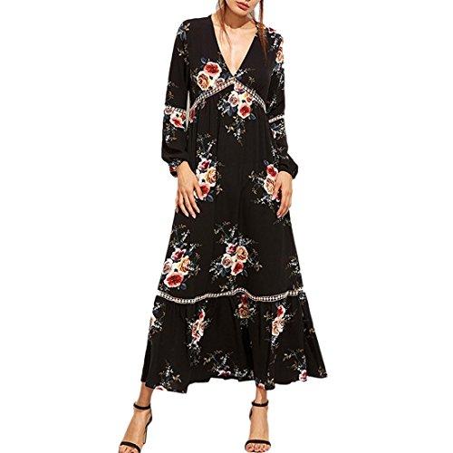 Sexy Schwarz Vintage Plissee Swing lange Quaste Kleid V-Ausschnitt Rose  Print Floral Maxi- aeb1f01b23