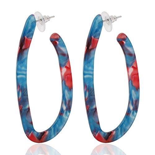 Marble Resin - ALEXY Women's Mottled Hoop Earrings Bohemia Acrylic Resin Hoops Stud Earrings (E: 1 Blue Flower)