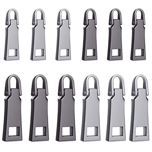 WXJ13 12 Pieces Zipper Head Luggage Accessories Leather Special Zipper Pull Card Detachable Pull Tab,2 Sizes, 2 Colors