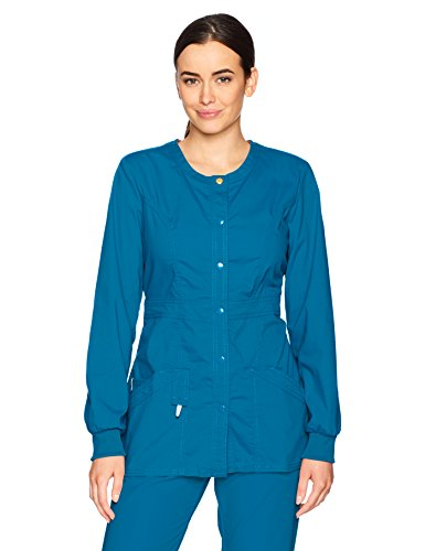 Code Happy Women's Bliss with Certainty Snap Front Warm-up Jacket, Caribbean Blue, Medium