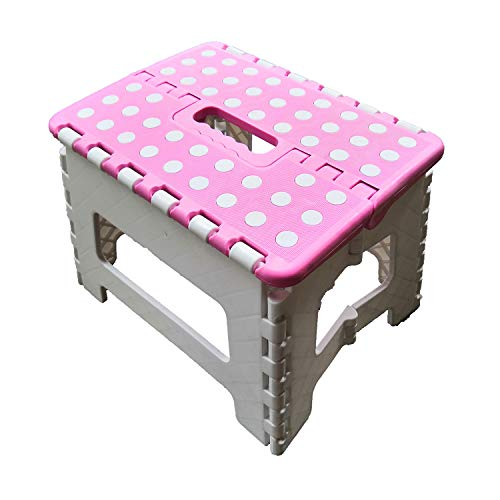 """Price comparison product image ZLin Folding Step Stool with Handle Lightweight Sturdy and Safe Enough to Support Adults & Kids. Kitchen Garden Bathroom Stepping Stool Anti-Slip 9"""" x 11"""" Holds Up to 300 lbs(Pink&White)"""