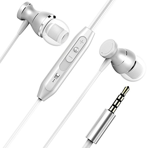 Earphones, Monez Metal Wired Earbuds with Microphone iPhone Earbuds Apple in Ear Earphones for iPhone 6s 6 5c 5 4s iPad 1 2 3 4 iPod 5 6 Samsung Galaxy S8 S8 Plus Note 2 3 4 5 IOS 3.5mm (Silver)