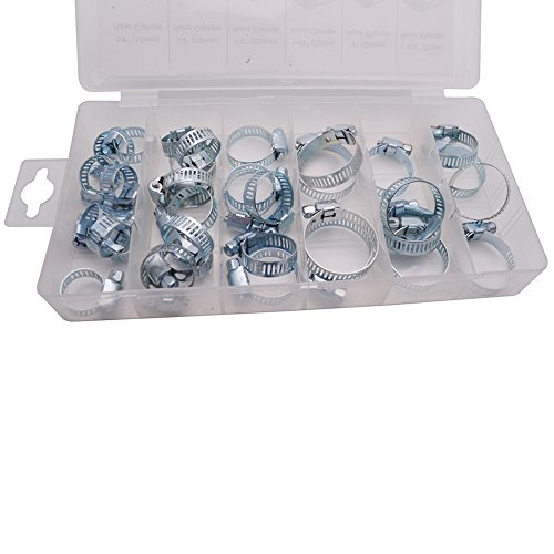 Sydien 34Pcs Stainless Steel Adjustable Pipe Hose Clamp Hoop Assortment Kit for Throat Hoop Fasteners Tube Fixer Tool Set by Sydien