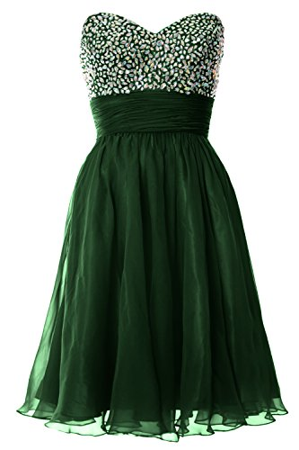 MACloth Women Strapless Chiffon Short Prom Dress Formal Cocktail Party Ball Gown Verde Oscuro