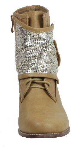 Jennika - Biker Boots de material sintético mujer marrón - caqui
