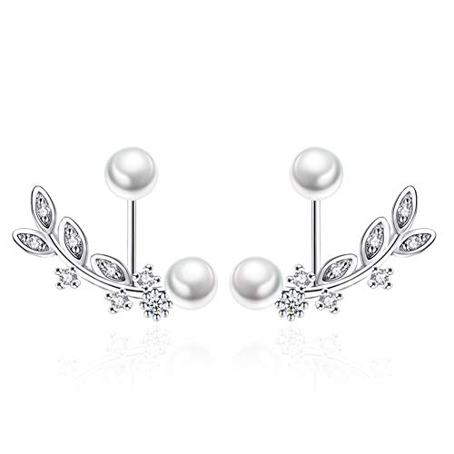 Ear Jacket Cuff Earrings Set Sterling Silver Front Back 2 in 1 with CZ Pearl