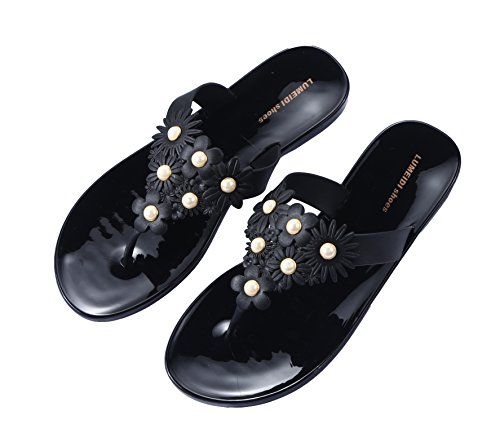 Pour Et Slipper Femme Camellias Perles Noir Flat Beginning Beach Tongs Auspicious fw86qF4q