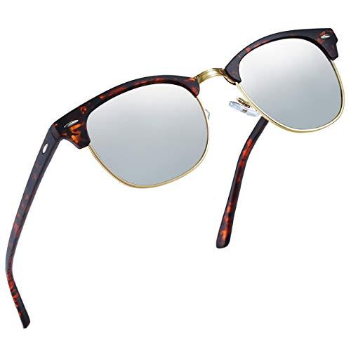 Joopin Semi Rimless Polarized Sunglasses Women Men Retro Brand Sun Glasses (Leopard Frame Silver ()