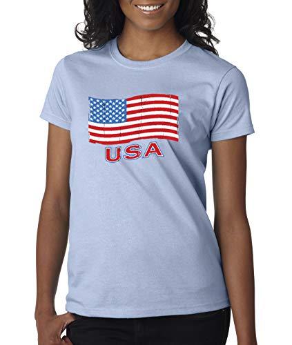 - Trendy USA 719 - Women's T-Shirt USA Flag Distressed Old Glory United States Medium Light Blue