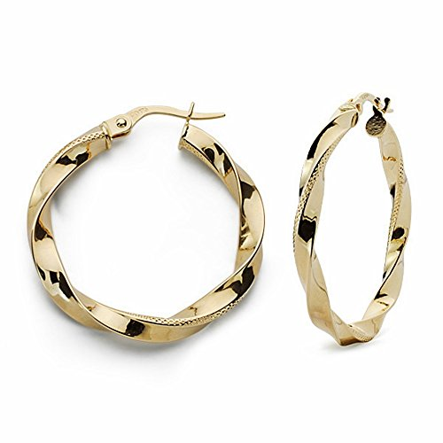 Boucled'oreille 18k anneaux d'or 30mm. fil reliados [AA1630]