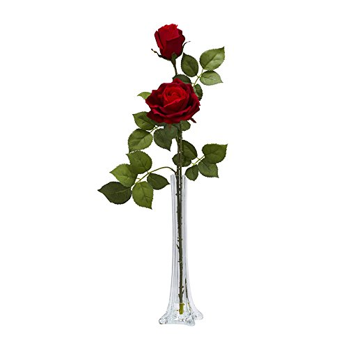 Nearly Natural Home Garden Décor Roses w/Tall Bud Vase Silk Flower Arrangement -