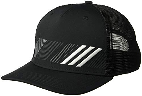 (adidas Golf Stripe Trucker Hat, Black/White, One)