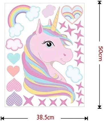 Rainbow Amovible Autocollant Stickers pour Chambre B/éb/é Chambre Enfant Chambre P/épini/ère MAFENT Licorne Cheval Stickers Muraux//Autocollants Collection Rose,Droite
