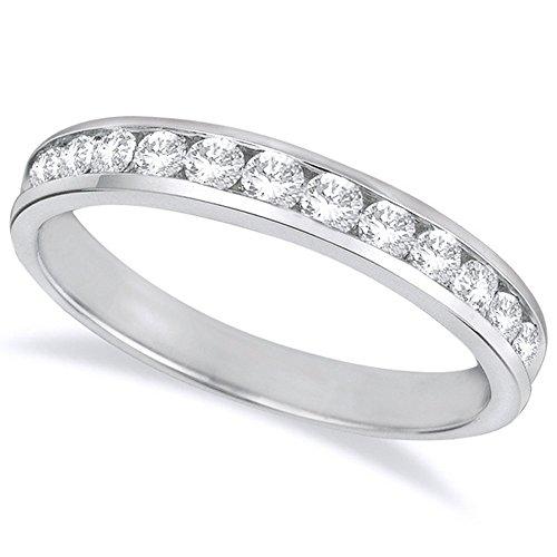 1 1/2 Carat (ctw) 14K White Gold Round Diamond Ladies Channel Set Half-Way Semi-Eternity Wedding Anniversary Stackable Ring Band Premium Collection ()