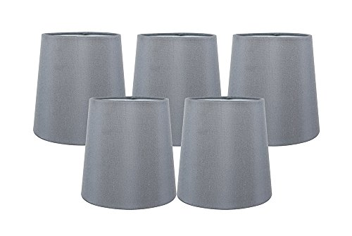 Silk Chandelier (Meriville Set of 5 Gray Faux Silk Clip On Chandelier Lamp Shades, 4-inch by 5-inch by 5-inch)