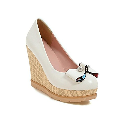 Taiwan High Yards HGTYU Summer Waterproof Big And High Singles 10 White Sweet Tie Shoes Shoes Bow Water The Heeled Hills Drilling Women Shoes Women'S Beaded 5Cm Spring With With And xY7YwEfrq