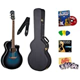 Yamaha APX500 Thinline Cutaway Acoustic-Electric Guitar - Oriental Blue Burst Bundle with Hard Case, Tuner, Strings, Strap, Picks, Austin Bazaar Instructional DVD, and Polishing Cloth