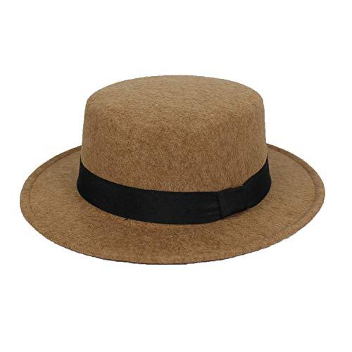 New Pork Pie Hat Men Tan Wool Hats Bowler Women Brown Felts Hat Ribbon Bowknot Top Woolen Caps -