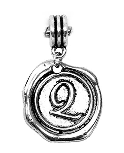 Message Q Initial Wax Stamp Dangle Charm for European Bracelets