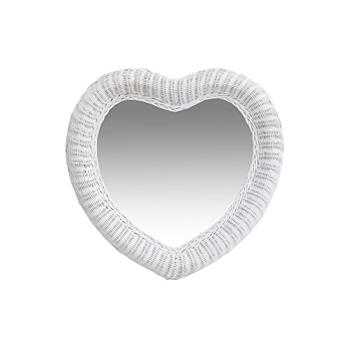 Real Authentic Wicker Rattan White Heart Mirror 24