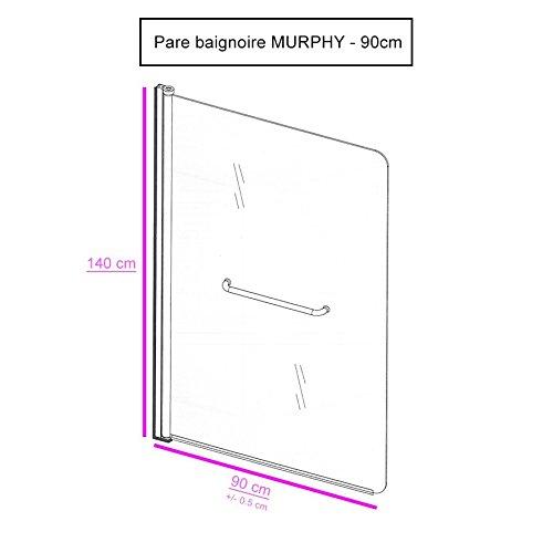 6 mm Murphy UneSalleDeBain Pare Baignoire 90 x 140 cm
