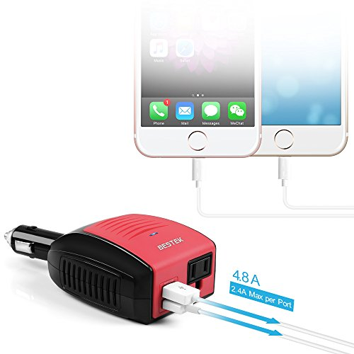 BESTEK 150W Power Inverter, DC 12V to 110V AC Car Inverter with 4.2A Dual USB Car Adapter by BESTEK (Image #2)