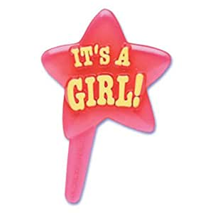 Dress My Cupcake DMC41B-55GSET It's a Girl Pick Decorative Cake Topper, Baby Shower, Pink, Case of 144
