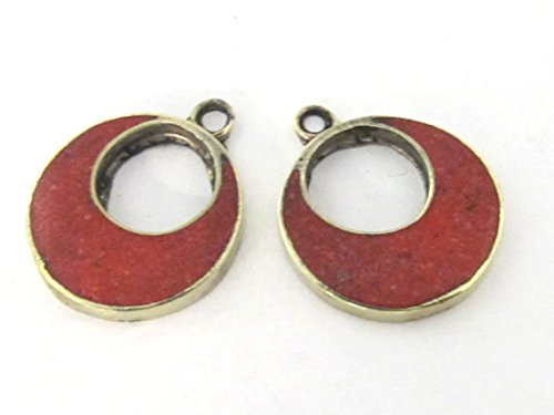 (2 pieces - Tibetan silver donut disc shape charm pendants with coral inlay - PM510A)