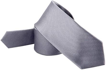 Mens Skinny Neck Tie PALE SILVER Silky Shiny Slim Everyday Office Party Wedding