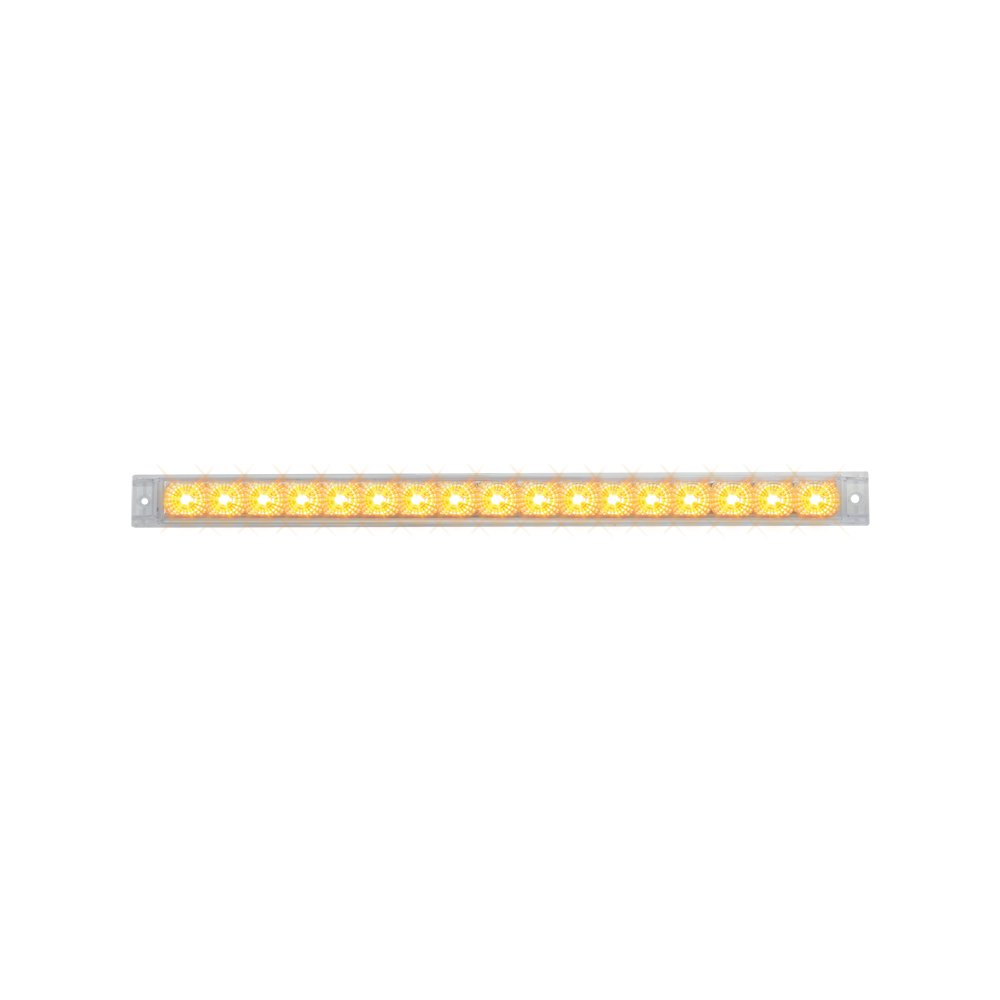 Grand General 76981 Amber 20'' Single Row Spyder 17-LED Park/Turn/Clearance Sealed Light Bar with Clear Lens