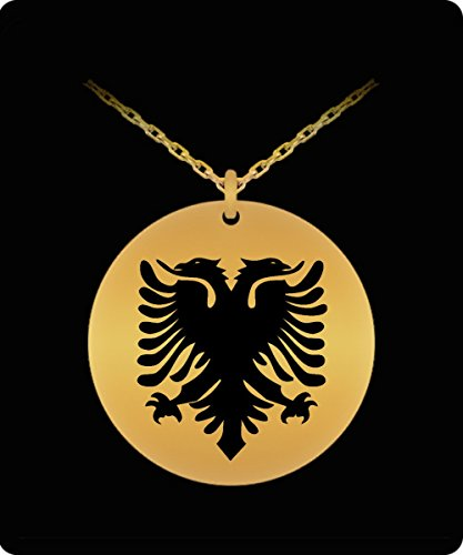 [Albanian Eagle Necklace - 18k Gold Palted/Stainless Steel Engraved Pendant - Great Gift Charm For Men and] (Original Cute Costumes Ideas For Women)