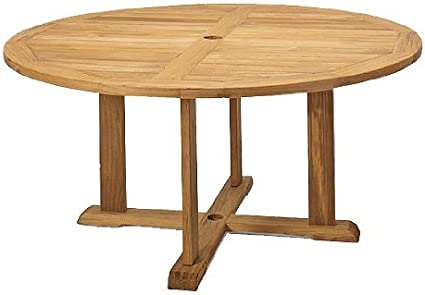 "Amazon.com : TeakStation Grade-A Teak Wood 60"" Round Outdoor Patio Dining Table #TSDT60 : Patio Dining Tables : Garden & Outdoor"