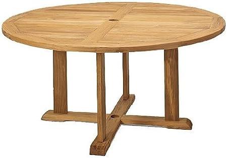 Amazon Com Teakstation Grade A Teak Wood 60 Round Outdoor Patio Dining Table Tsdt60 Patio Dining Tables Garden Outdoor