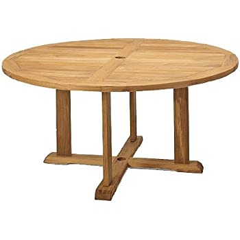 "TeakStation Grade-A Teak Wood 60"" Round Outdoor Patio Dining Table #TSDT60"