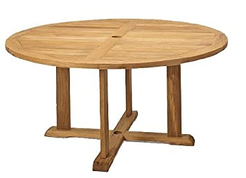 TeakStation Grade A Teak Wood 60u0026quot; Round Outdoor Patio Dining Table  #TSDT60