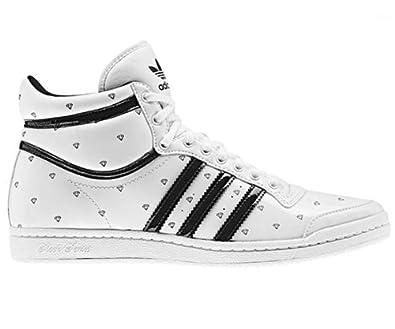 big sale f49cb c5c03 adidas Womens ADIDAS TOP TEN HI SLEEK W DIAMONDS Trainers White Blanc -  Weiss (Weiss-Schwarz) 4 Amazon.co.uk Shoes  Bags