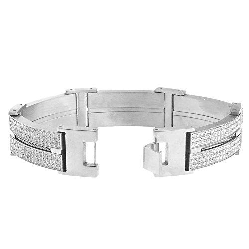 Iced Out Acier Inoxydable DOUBLE CZ Bracelet - 20mm argent