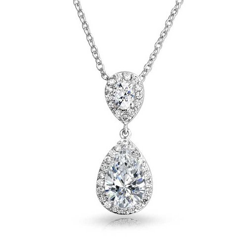 Bling Jewelry CZ Teardrop Bridal Pendant Rhodium Plated Necklace 18 (Large Teardrop Pendant Necklace)