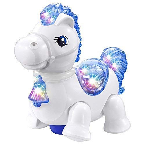WEofferwhatYOUwant White Pony Horse Equestria Toy - with Music and Lights with Continuous Bump n Go Action ... ()