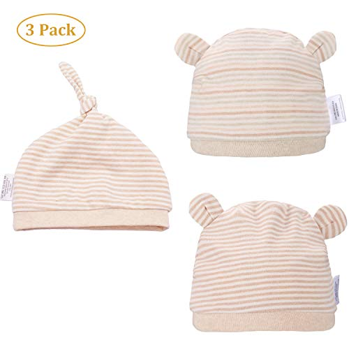 Folamer Newborn Hats Organic Cotton Top Knot Beanies for 0-12 Months Baby Infant Cute Soft and Comfortable Hat